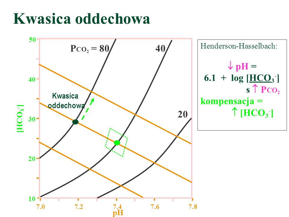 Kwasica oddechowa PCO2 = 80 40 20  pH = 6.1 + log [HCO3-]